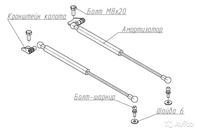 Амортизаторы капота hyundai solaris