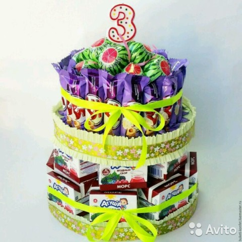Детский торт своими руками из сока и конфет