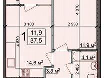 1-к. квартира, 37,5м², 23/25эт.