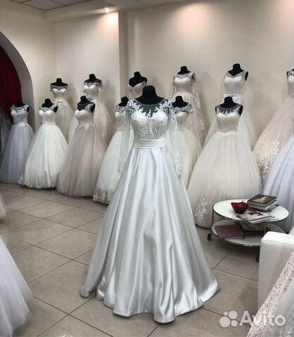 d10b920c80f Новое атласное свадебное платье с рукавом