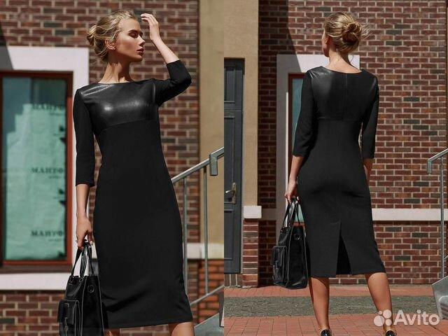 a0c994136ae Комбинированное платье-футляр с кожаными вставкам— фотография №1
