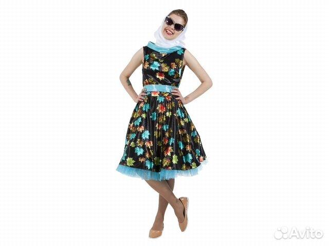 1a459a7f733 Карнавальный платье в стиле 50-х с листочками черн