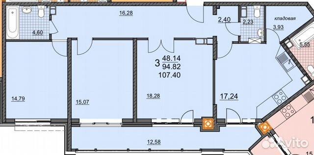 3-к квартира, 107.4 м², 12/19 эт.