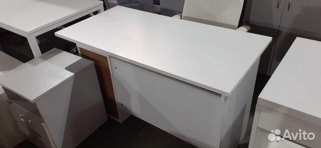 Стол рабочий белый с встроенной тумбой б.у  89220229307 купить 2