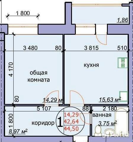 1-к квартира, 44.5 м², 4/4 эт.  89051005300 купить 3
