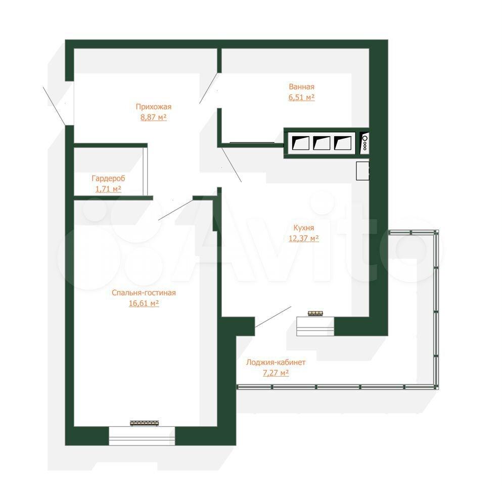 1-к квартира, 53.4 м², 1/9 эт.  89275838241 купить 2